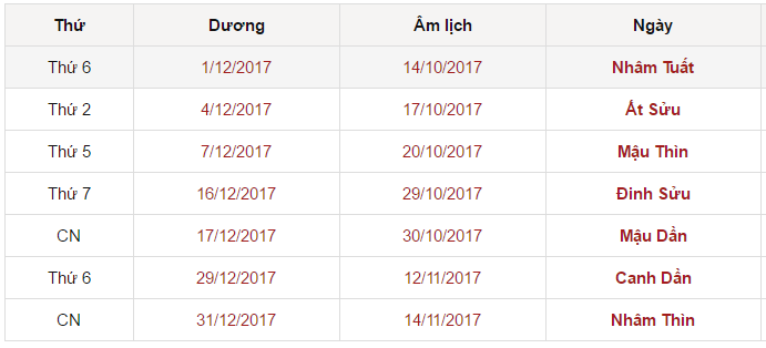 Xem ngày đẹp chuyển nhà tháng 12 năm 2017 Đinh Dậu