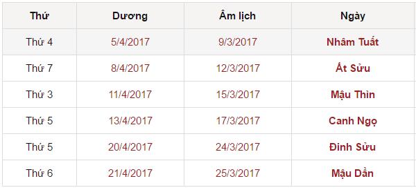 Xem ngày đẹp chuyển nhà tháng 4 năm 2017