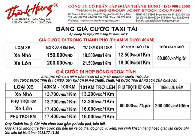 Bảng giá cước taxi tải Thành Hưng mới nhất cho đến hiện tại