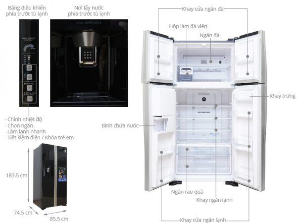 kích thước tủ lạnh side by side hitachi