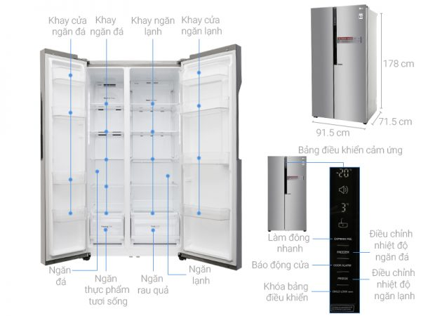 kích thước tủ lạnh side by side lg 613