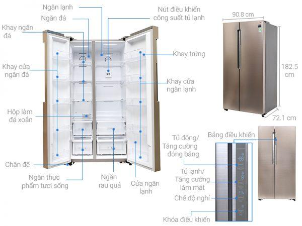 kích thước tủ lạnh side by side ss