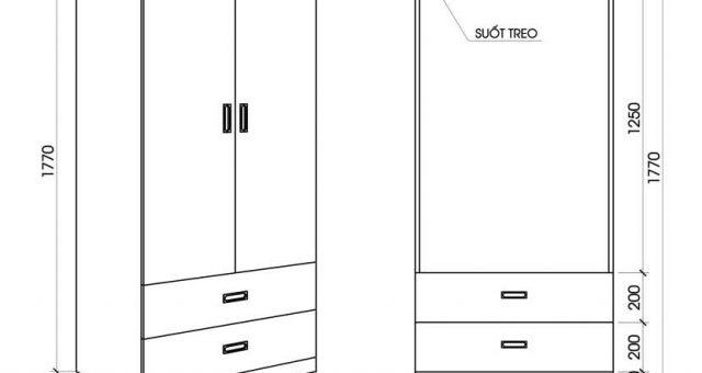 Kích thước tủ quần áo 2 cánh tiêu chuẩn phù hợp với mọi gia đình
