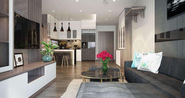 Thiết kế nội thất chung cư 2 phòng ngủ vừa hiện đại vừa tiện nghi.